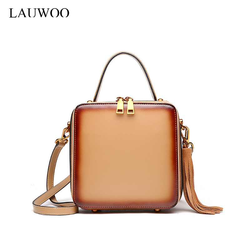 LAUWOO Luxury Brand Design Women Genuine Leather Tassel Bag Elegant Handbag For Female Fashion Lady Cow Leather Messenger Bag lauwoo fashion women luxury brand handbag female crocodile prints genuine leather shoulder bag lady elegant tassels tote bags