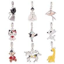 25166310c444 Dodocharms New Silver Color Bead Charm European Girl Cat Horse Bear  Butterfly Fashion Bead Fit Pandora pulsera DIY collar
