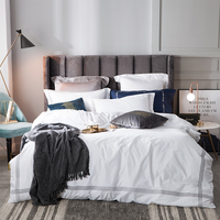 100% cotton 5 star Hotel Embroidery Bedding Sets luxury Bedclothes Duvet Cover Bed Linen Jacquard Queen King flat/fitted sheet