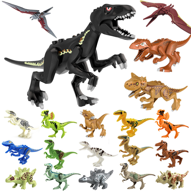 Assemble Building Blocks Dinosaur World Pterosaurs Tyrannosaurus Models Toys For Children Birthday Gift Compatible Animal Blocks