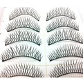 2017 New 10 pcs Handmade Thick Fake False Eyelash Lashes Natural Transparent Stem Black free shipping With Retail Box D63