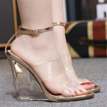 Summer Women Ankle Strap Sandals PU Buckle Strap Wedges Transparent 9.5CM High Heels Sandals Women Shoes Sexy Pumps 2015 plus size sweety women sandals wedges high heels patent leather t strap ankle buckle strap chunky rivets decorated summer