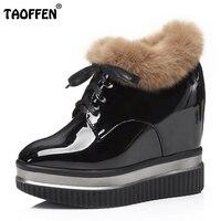 TAOFFEN Women Winter Boots Thick Fur Ankle Boots Hidden Platform Wedges High Heel Boots Women Shoes