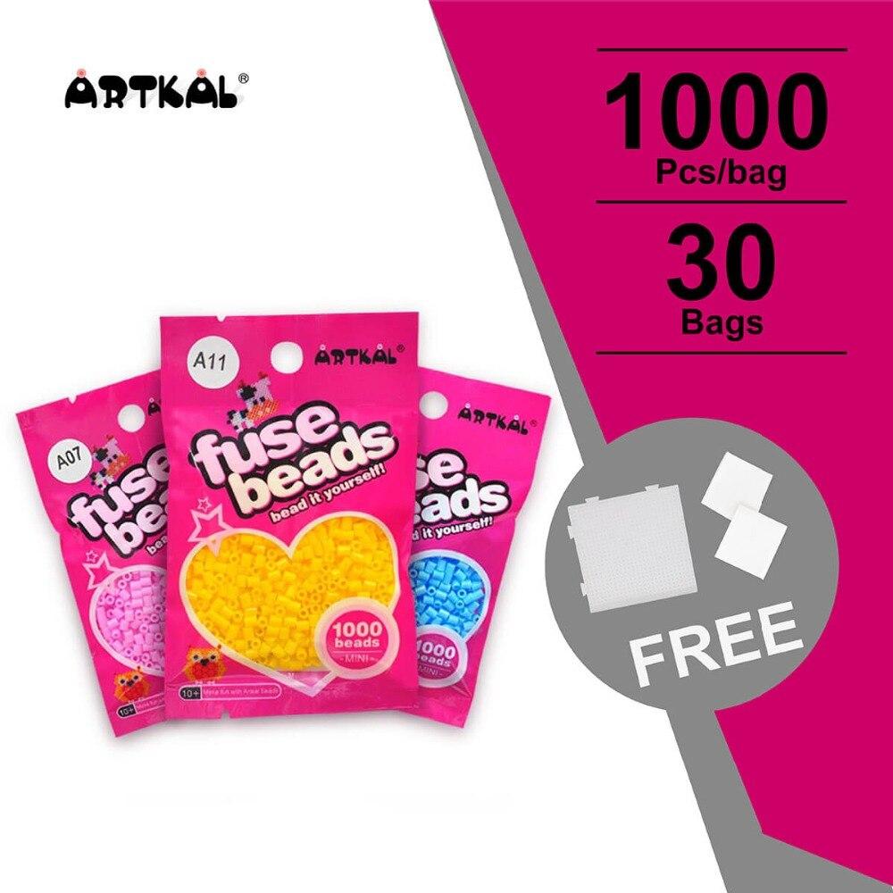 30 Sacs A-2.6mm Artkal Fusible Perles Exclusive Doux Hama Perler Perles Bricolage Jouet Puzzle