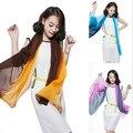 1 pc Verão Nova chegada de Moda Chiffon cachecóis cores Graduais georgette feminino lenços de seda 50*160 cm