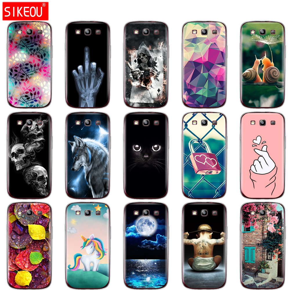 Soft TPU Silicone Case For Samsung Galaxy S3 Case Cover I9300 Case For Samsung S3 Case Silicone Cover Cat Flower