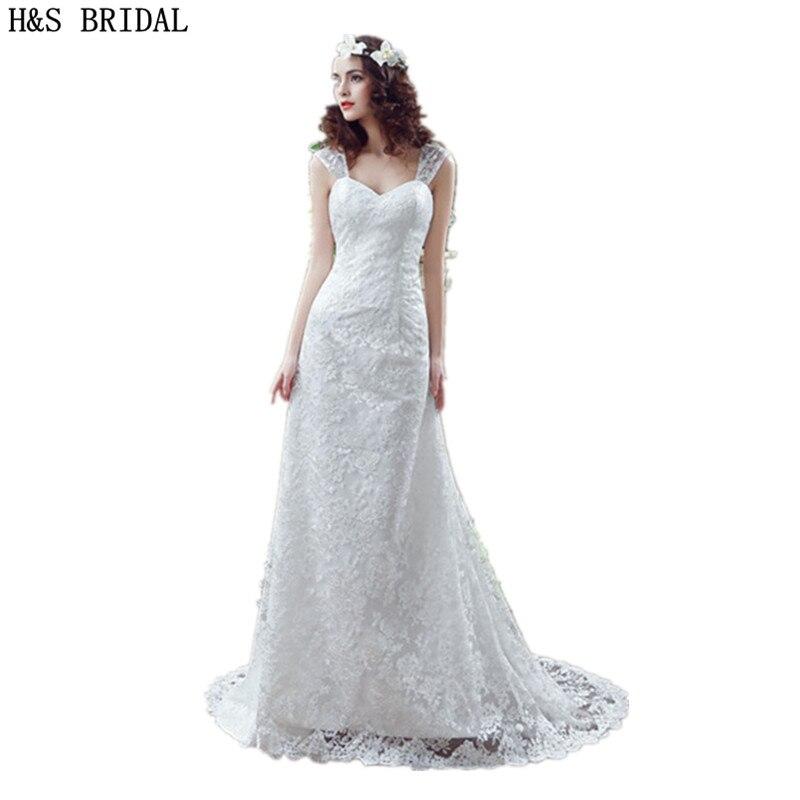 Sweetheart Sheath Lace wedding dresses With Sheer Straps vestido de noiva cheap Wedding Gowns Back Lace Up beach wedding dress