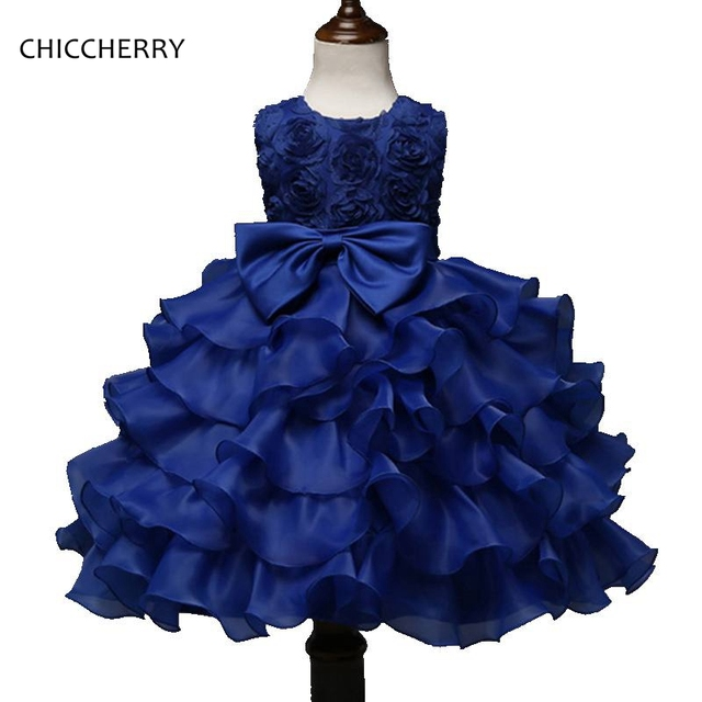 3D Rose Boutique Prom Girl Blue Dresses Graduation Gowns Children ...