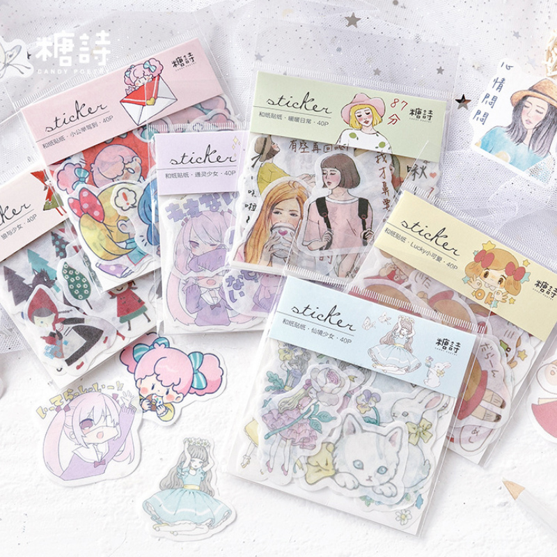 40 Pcs/Lot 1903Teenage Girl Cute Girl Decoration Paper Sticker Decoration DIY Album Diary Scrapbooking Label Sticker Kawaii