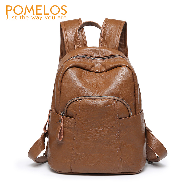 POMELOS Brand NEW Women Casual Soft Leather Backpack Ladies Fashion Back Pack Bag Rucksack Vintage Female Travel Backpacks free shipping backpack women white and black travel pu leather backpacks ladies fashion female rucksack back bags