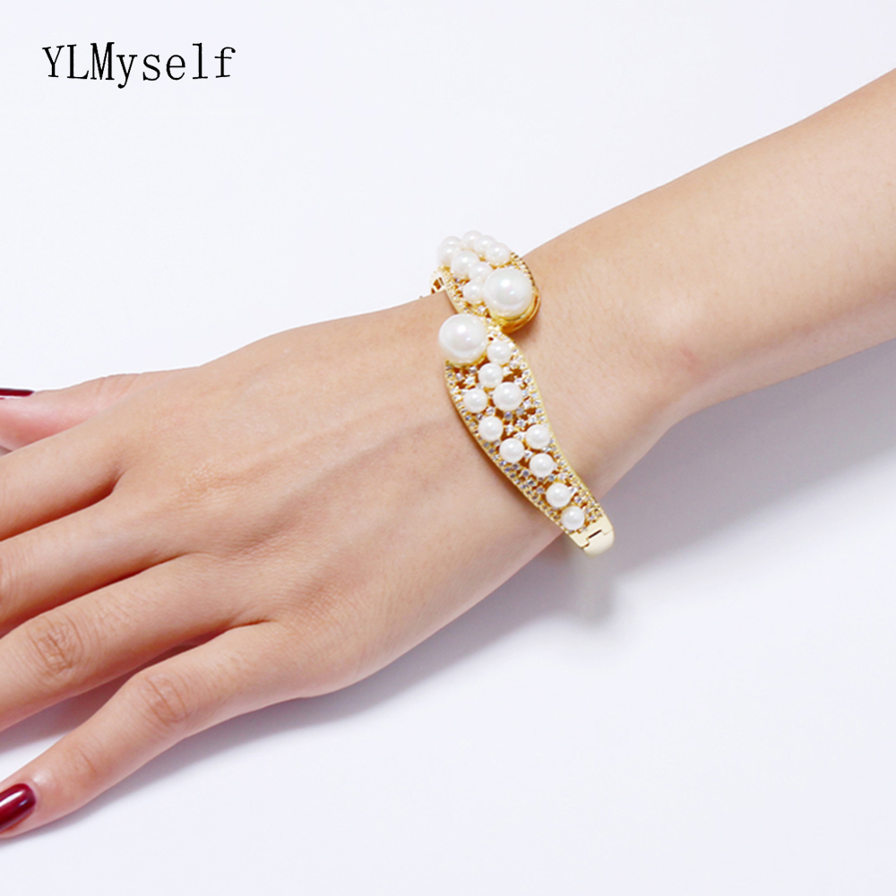 6.2cm diameter pearl bangle beautiful large gold color women accessories jewelry luxury jewellery for party crystal Bracelet