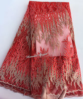 Allover Big Korea Stones Red Gold French Lace Mesh Net Lace African Tulle Fabric Super Rich