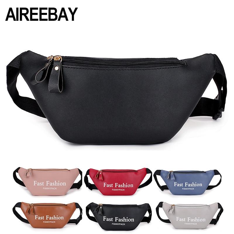 AIREEBAY Womens Waist Bag Fanny Pack PU Leather Belt Bag Purse Small Purse Phone Key Pouch Pink Black Waist Packs