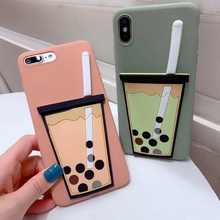 Tfshining Cute Cartoon 3D Milk Tea Phone Cases For iPhone X XS Max XR 7 8 6 6s Plus Drink Cup Funny Silicone Summer Cover Case