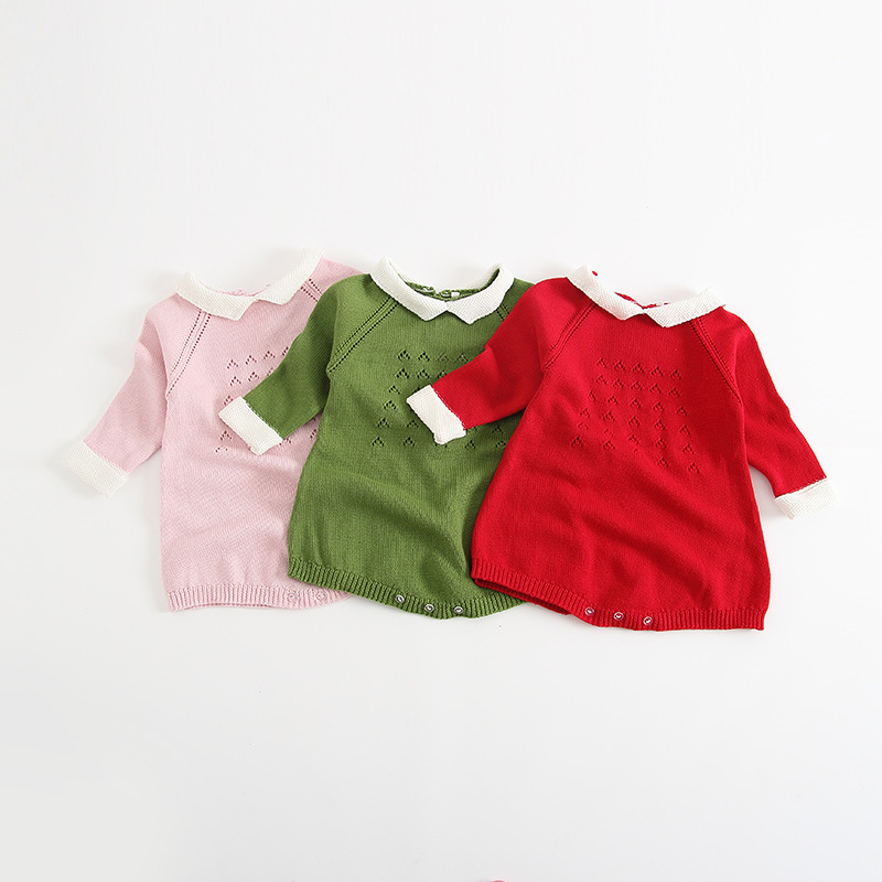 Cotton Knitted Baby Girl Bodysuit Baby Girls Long Sleeves Sweater Cute Sweet Kids Clothing Infant New Born Toddler Sweater