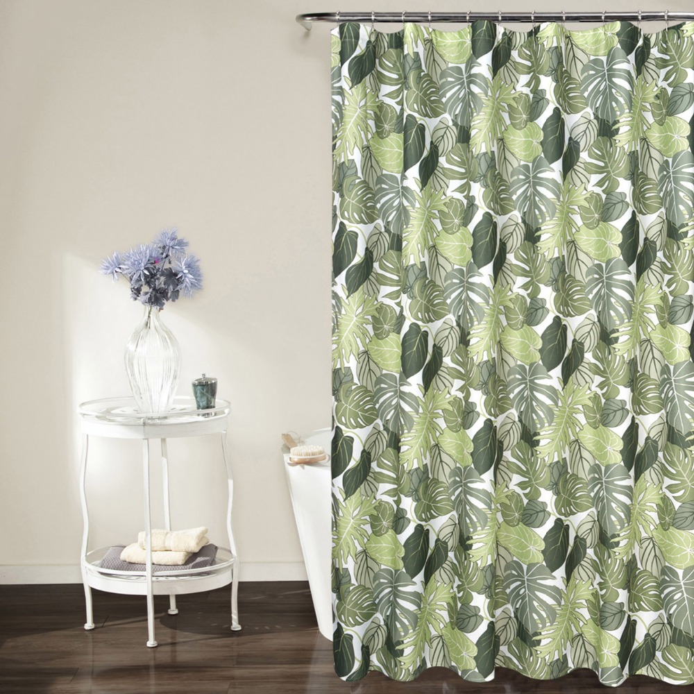 Green shower curtains - Bbj Green Shower Curtains Printed Green Plant Bathroom Curtain Printed Leaves 1piece China Mainland