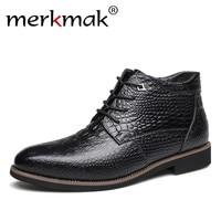 Merkmak Luxe Merk Mannen Winter Laarzen Warm Thicken Fur mannen Enkellaars Mode Mannelijke Business Kantoor Formele Lederen Schoenen