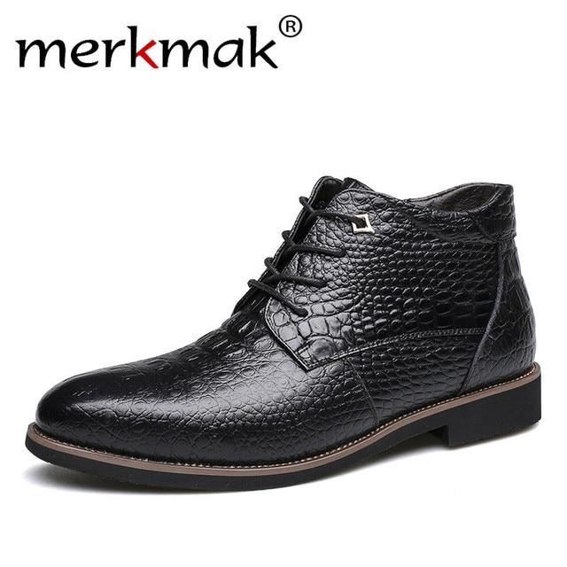 Merkmak/Элитный бренд Мужские зимние сапоги теплые Мех Для Мужчин's Ботильоны Модные мужские Бизнес офисные формальные Обувь кожаная