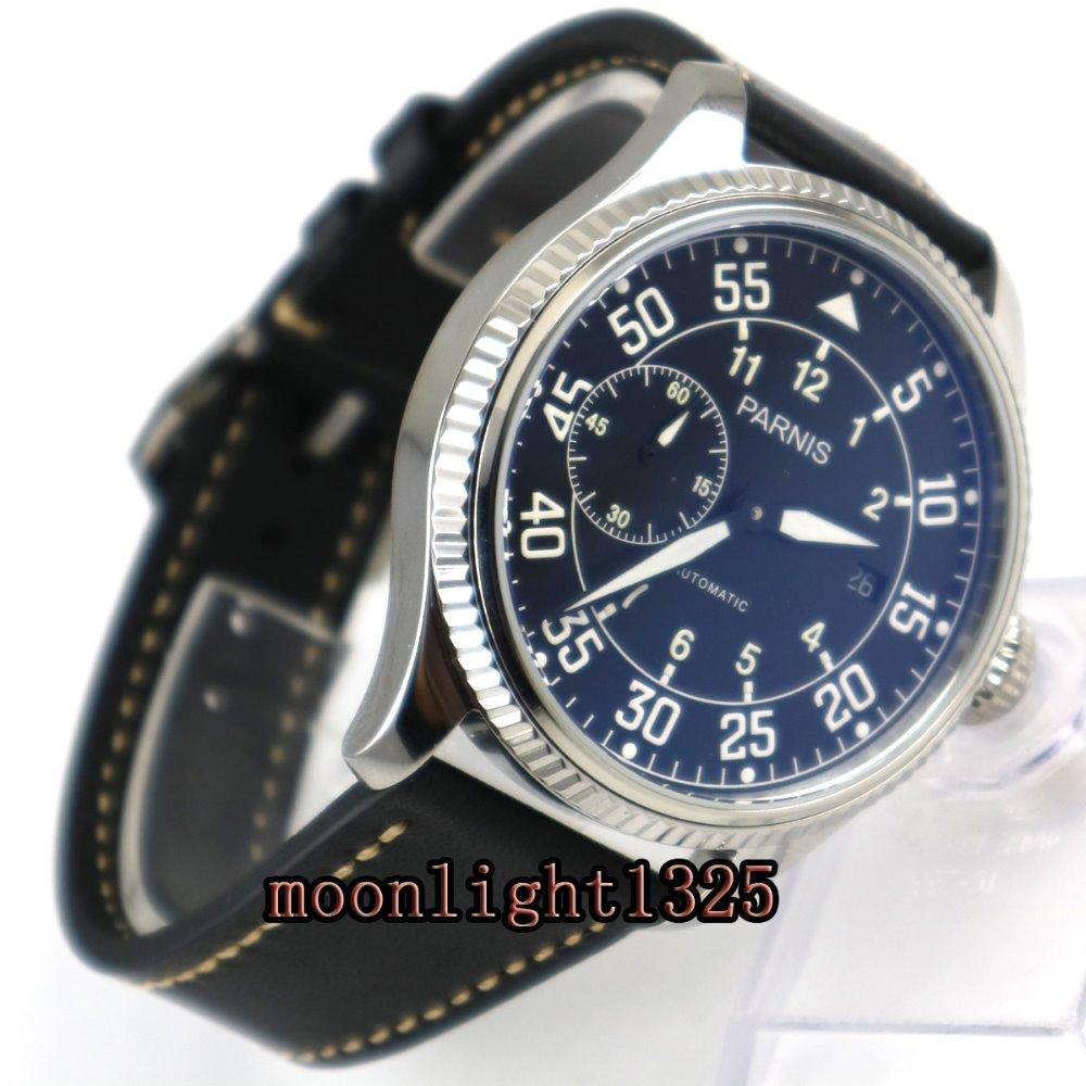 лучшая цена 45mm Parnis black dial date window ST2555 Automatic Movement Mens Watch