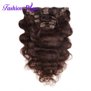 Fashion Plus Clip In Hair Extensions Body Wave Human Hair 7pcsset 120g Clip Ins Full Head 18inch-22inch Remy Hair Extensions