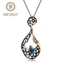 GEMS BALLET 925 argent Sterling Original fait à la main pétale Floral pendentif collier 0.39Ct naturel améthyste Fine bijoux pour les femmes