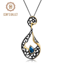 GEMS BALLET Natural London Blue Topaz Wedding Jewelry 925 Sterling Silver Handmade Hollow Element Pendant Necklace for Women