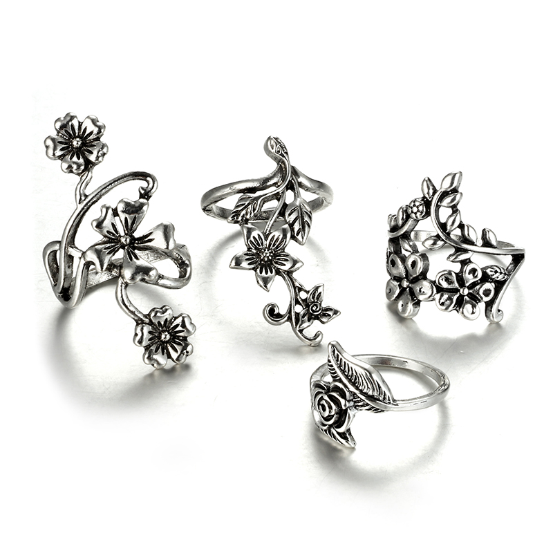 HuaTang Bohemian Antique Silver Ring Geometric Elephant Flower Green Rhinestone Knuckle Rings Midi Finger Anel Rings Jewelry 24