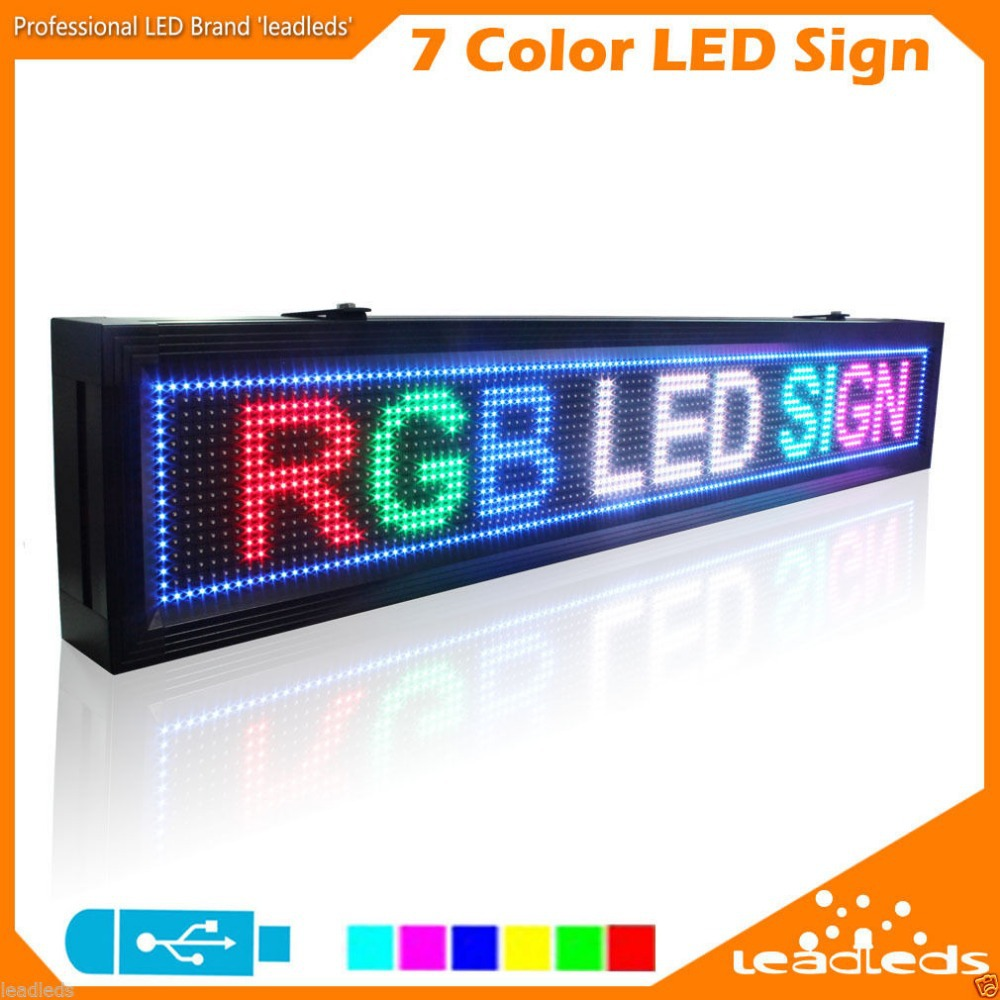 131cm P10 SMD RGB 7-color 16X128pixel Programmable Scrolling LED Rainbow Message Display Display Board For Business Sign