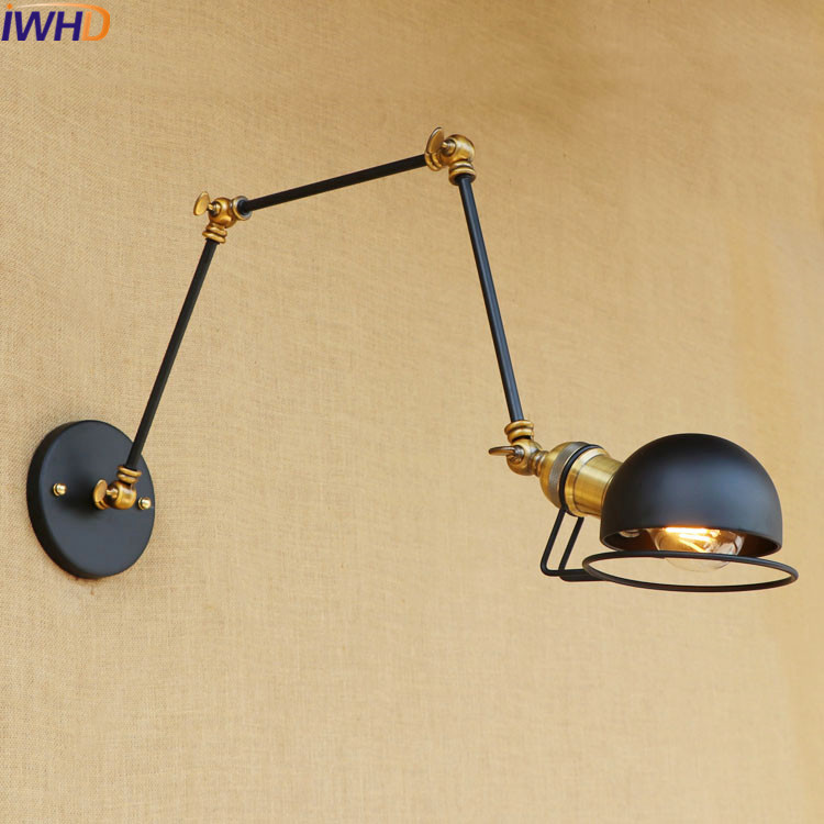 Modern Vintage Loft Metal Black Wall Light Vintage Retro Iron Wall Lamp Country Style E27 Edison Sconce Lamp Fixtures 110V/220V free shipping retro vintage wall light punk wall light edison bulbs metal black painting ceiling light for living room loft lamp