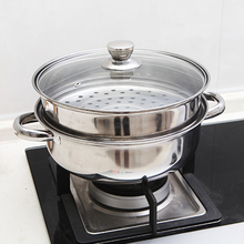 Household dual-purpose cooker stainless steel Double-deck steamer steaming soup 28cm