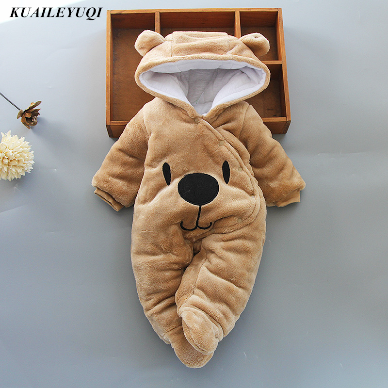New Baby Cartoon Romper Baby Winter Clothes hooded Infant jacket Girl Boy Warm coat Kids Baby Outfits Clothes Baby Costume(China)