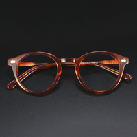 Handmade Acetate Vintage Round Glasses Frame Women Men Johnny Depp Brand Eyeglasses Optical Myopia Spectacles Frames Man Eyewear