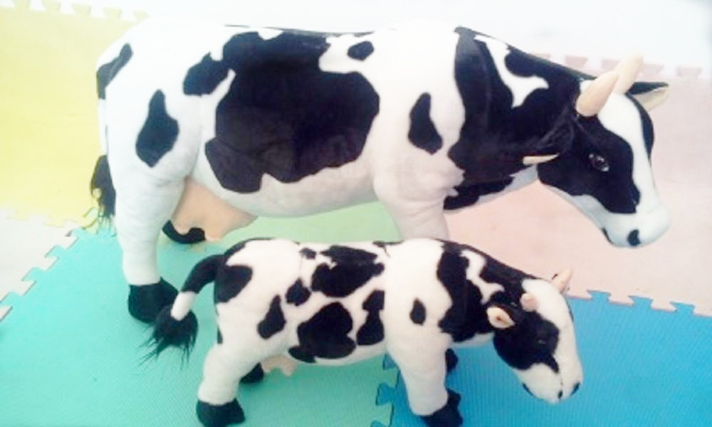 one piece small lovely plush simulaiton cow toy creative cow stuffed doll gift about 44cm 0440 stuffed animal 44 cm plush standing cow toy simulation dairy cattle doll great gift w501