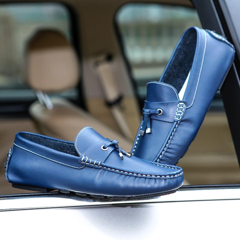 Appartements En Chaussures Taille Sneaker 2018 Gommino Véritable bleu Pantoufles Hommes Cuir Conduite Casual marron Noir orange Respirant Doux Homme Mocassins Grande XfSw4qW