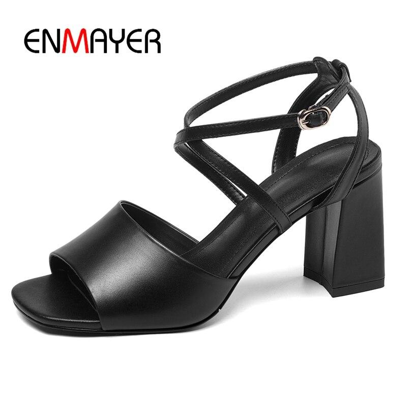 Schwarzwei High Schuhe Sommer Sandalen Basic 39 Casual Echtes Gre 34 Schnalle Ly1173 Leder Enmayer Super Damen 0XZON8wnPk