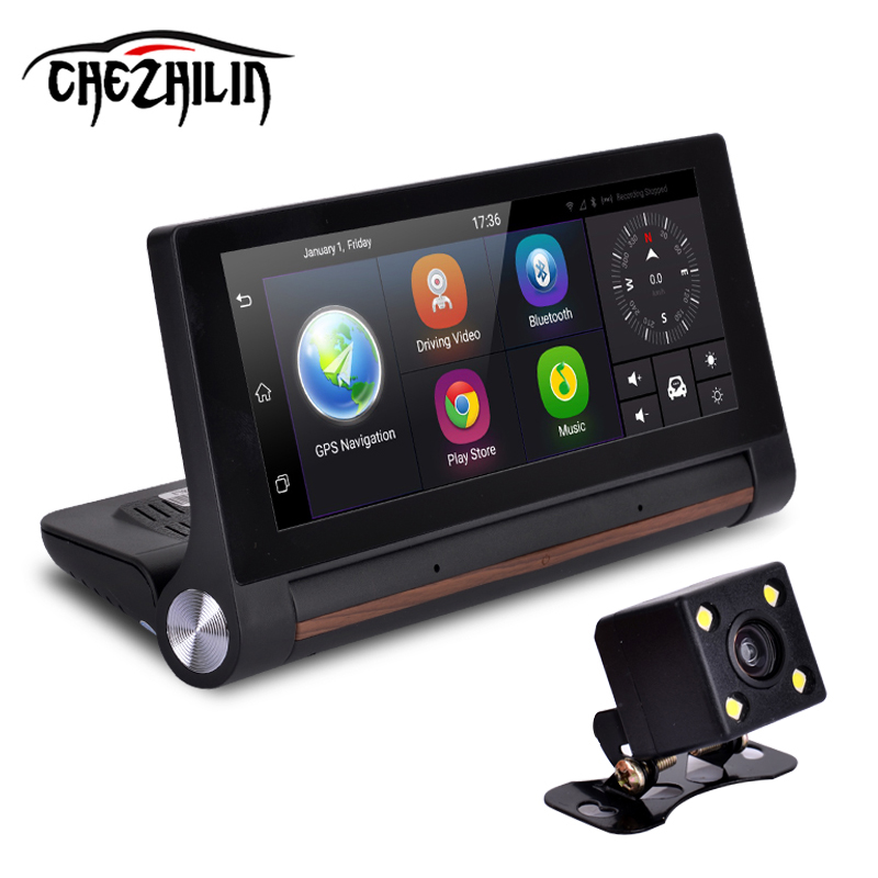 """imágenes para Chezhilin 27 Cámara Del Coche DVR GPS 6.86 """"Android 3G FHD dash cam Video Auto registrator con dos cámaras 1080 p cuadro negro"""