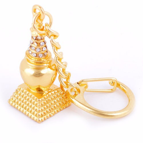 Feng Shui Bejewelled Kalachakra Earth Stupa Amulet Keychain USA Seller