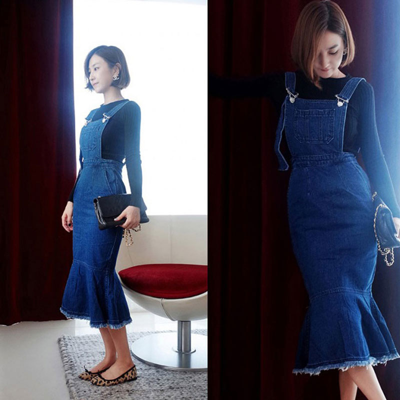 Earoomze 2018 Fashion Womens Mermaid Jeans Overalls Skirts Woman Cotton Midi Long Blue Denim Suspender Lady Jupes In From