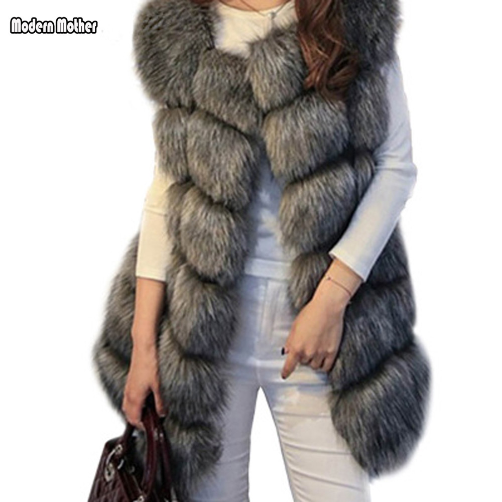 Faux Fur Coat Winter Women 2018 New Fashion Casual Warm Slim Sleeveless Faux Fox Fur Vest Winter Jacket Women