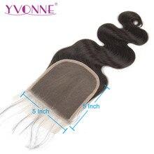 YVONNE объемная волна 5x5 Кружева Закрытие человеческие волосы, бразильские натуральные волосы, сшитая Закрытая часть натуральный Цвет