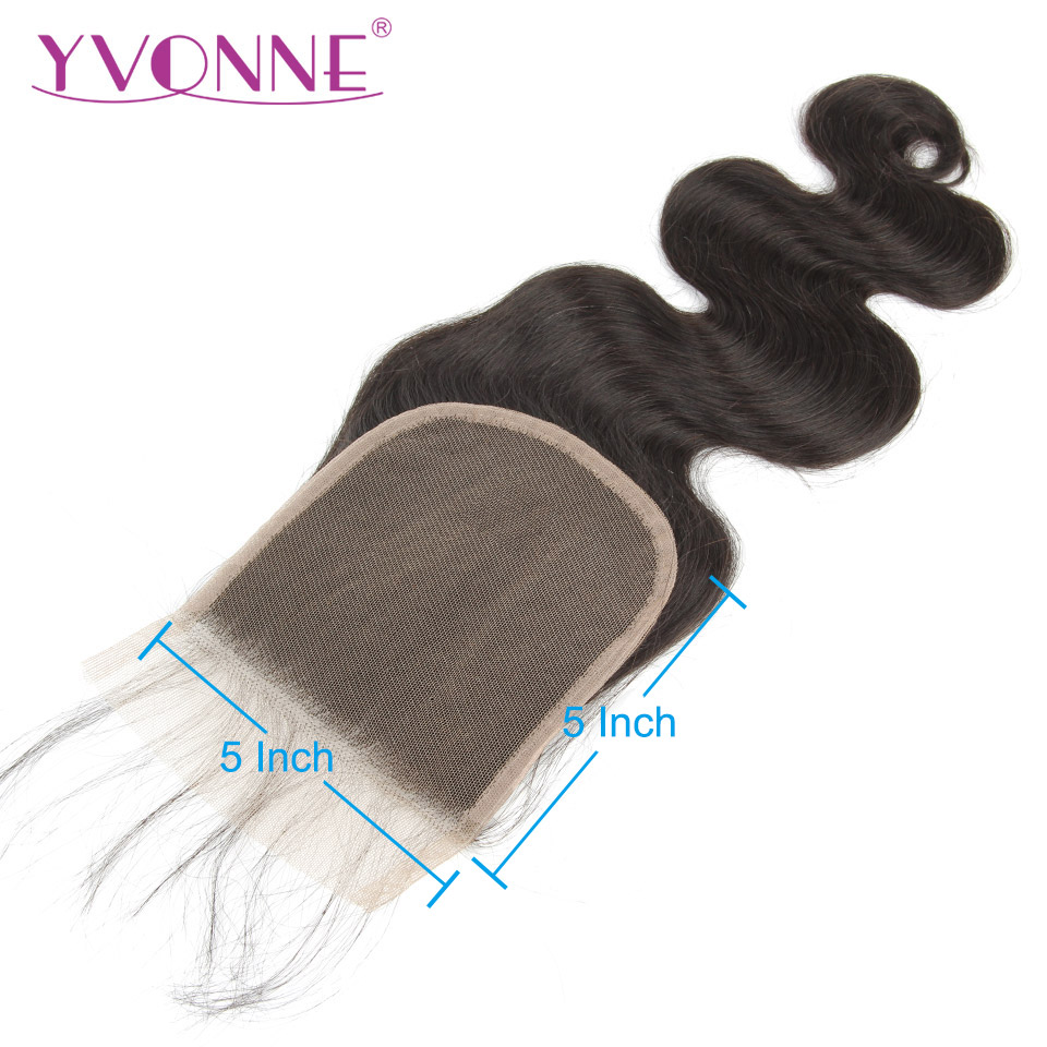 YVONNE Body Wave 5x5 Lace Closure 100% Human Hair Closure Brazilian Virgin Hair Free Part Natural Color