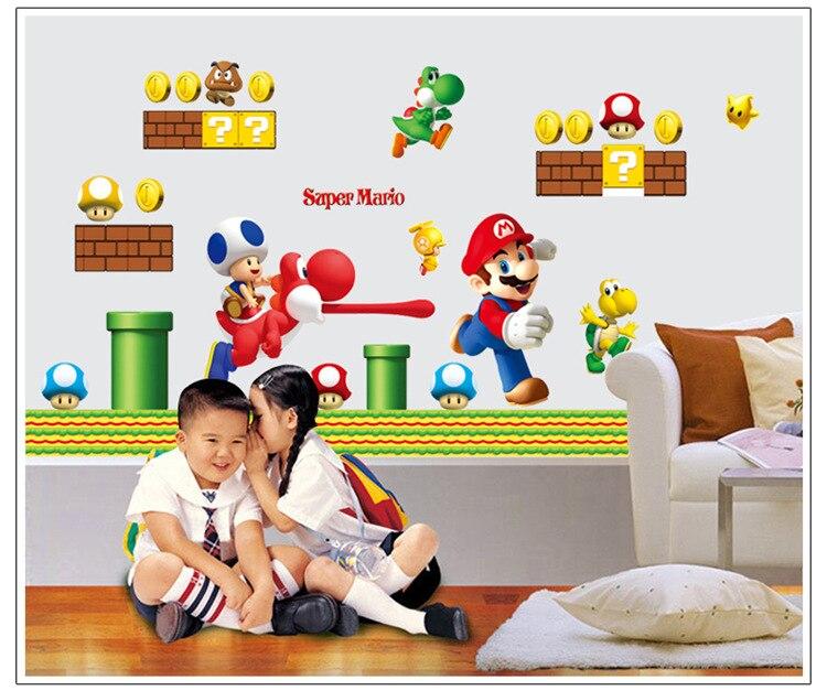 Super Mario Bros Новый Run огромный стены, виниловые наклейки съемные Настенная Home Decor ...