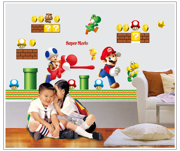 Super Mario Bros New Run Huge Wall Stickers Vinyl Removable Mural Home Decor ...