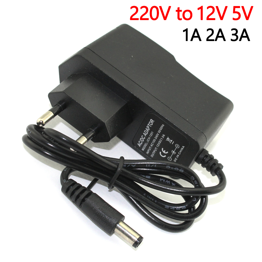 AC-DC 110V-<font><b>220V</b></font> DC 12V <font><b>TO</b></font> <font><b>5V</b></font> Power <font><b>Adapter</b></font> Supply 12V <font><b>5V</b></font> 1A 2A 3A Switching Charge power dadpter LED Drive 5.5MM For led strip image