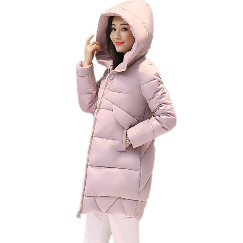 Winter Cotton Women Jacket Padded Cotton Solid Color Long Thickening Korean Slim Warm Hooded Long Sleeve Casual Parkas MZ1760 hooded collar korean new 2014 winter clothing full sleeve solid down jacket slim women casual cotton padded coat ly1066