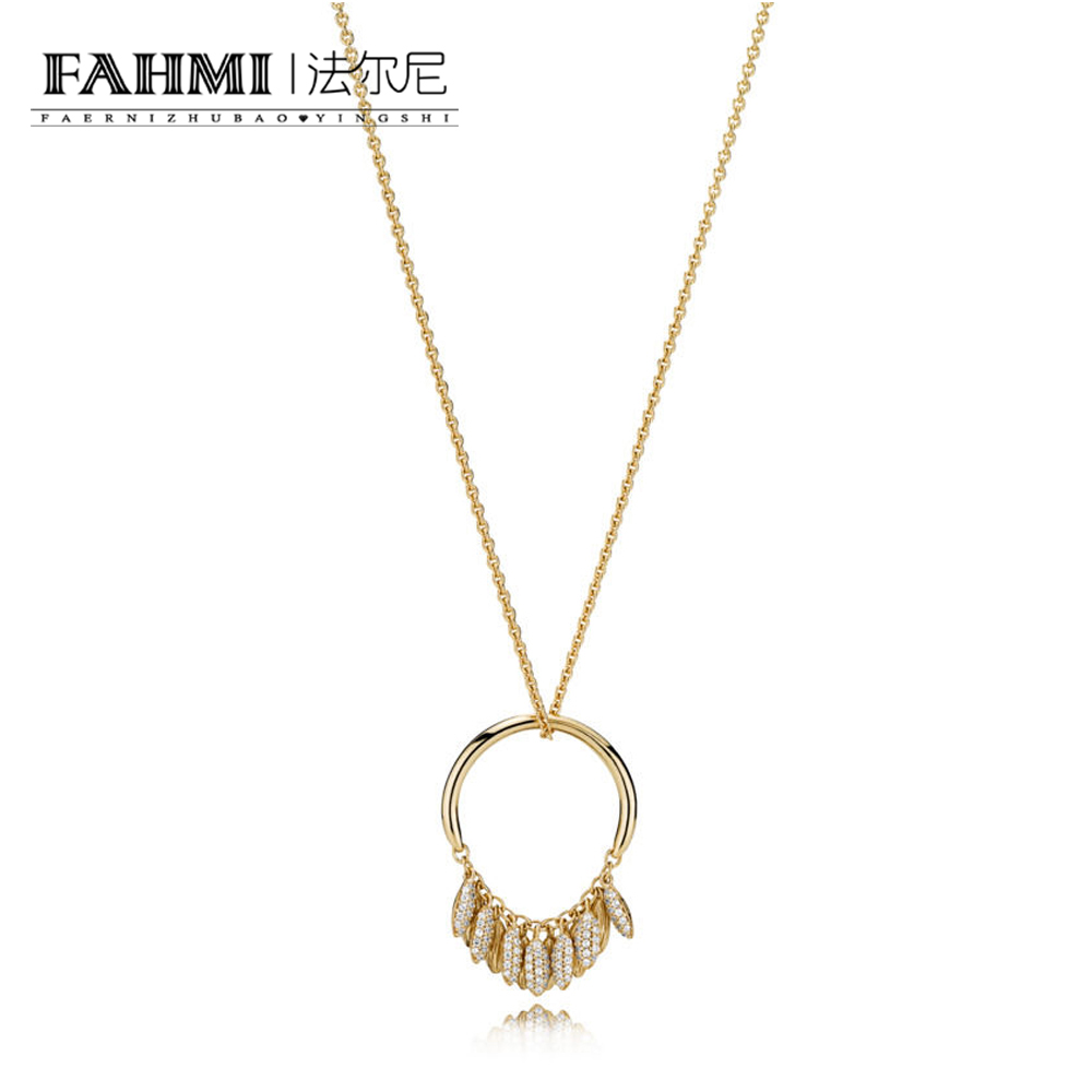 FAHMI 100% 925 Sterling Silver New 1:1 Original 367683CZ SHINE CIRCLE OF SEEDS NECKLACE Womens Charming Gift JewelryFAHMI 100% 925 Sterling Silver New 1:1 Original 367683CZ SHINE CIRCLE OF SEEDS NECKLACE Womens Charming Gift Jewelry