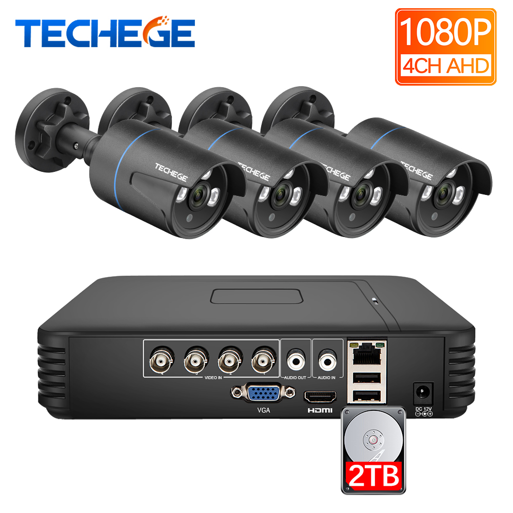 Techege 4CH CCTV camera System 1080P AHD security Camera DVR Kit Waterproof Outdoor 2.0MP home Video Surveillance SystemTechege 4CH CCTV camera System 1080P AHD security Camera DVR Kit Waterproof Outdoor 2.0MP home Video Surveillance System