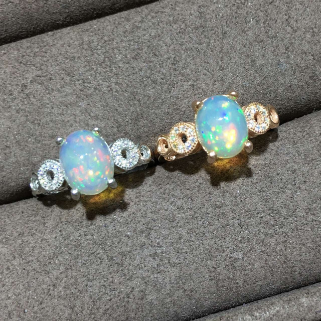 Natural Multi-color opal gem Ring Natural gemstone ring 925 sterling silver trendy Elegant round women girl party gift Jewelry
