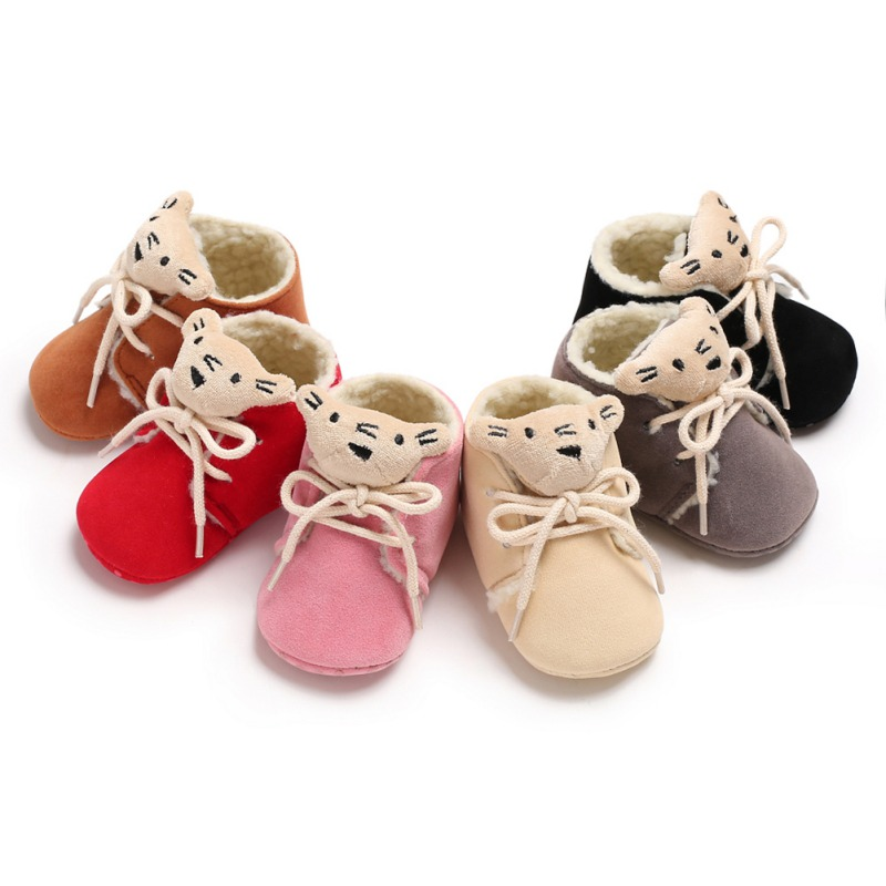 Winter Baby Girl Shoes Candy Color Cute Little Bear Soft Sole Infant Toddler Prewalkers First Walkers Anti-slip Newborn ShoesA