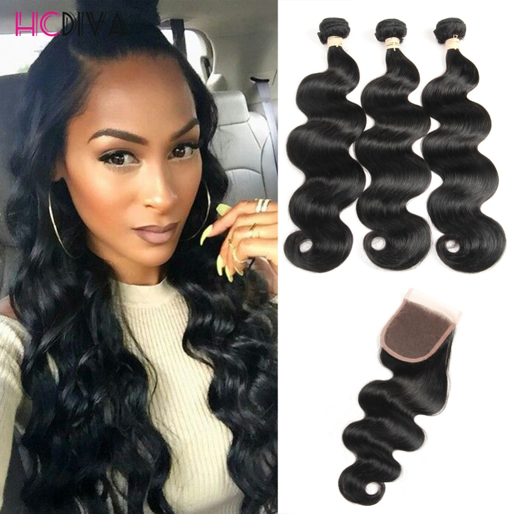 8a Malaysian Virgin Hair closure with 3Bundles malaysian Body Wave With Closure HCDIVA Virgin Human Hair With Closure